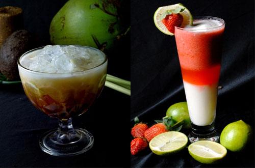 Ilustrasi aneka minuman dingin (Es Goyobod dan Dwi Warna Juice) di Restoran Kampung Daun Bandung (foto : kampungdaun.co.id)