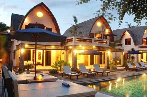Ilustrasi Hotel Vila Ombak Tempat Wisata Gili Trawangan Di Lombok Foto Dive And