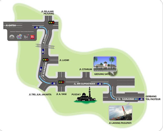 Ilustrasi peta 1 menuju tempat wisata Trans Studio Bandung (foto : transstudiobandung.com)