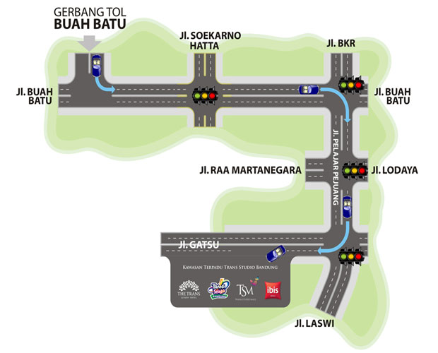 Ilustrasi peta 2 menuju tempat wisata Trans Studio Bandung (foto : transstudiobandung.com)